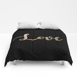 love gold glitter on black Comforters