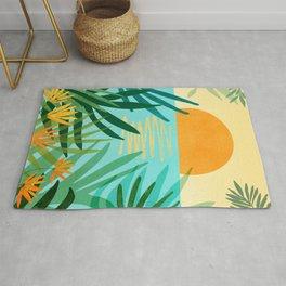 Tropical Ocean View / Landscape Illustration Rug