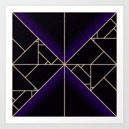 Deco Triangles Purple Art Print