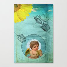Angel playing music in space Canvas Print
