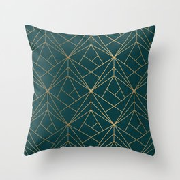 Hidden Sapphire Geometric Gold Pattern With White Shimmer  Throw Pillow