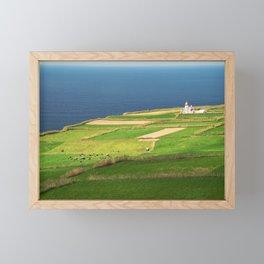 Pastures and lighthouse Framed Mini Art Print