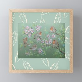 Singing birds & Blossom Framed Mini Art Print