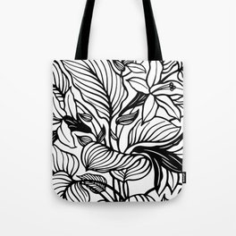 White Black Floral Minimalist Tote Bag