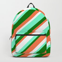 White, Aquamarine, Green & Coral Colored Striped/Lined Pattern Backpack