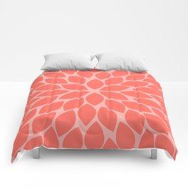 Coral Chrysanthemum Comforters