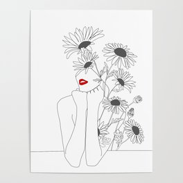 Minimal Line Art Girl with Sunflowers Poster
