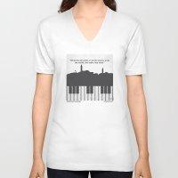 casablanca V-neck T-shirts featuring No192 My Casablanca minimal movie poster by Chungkong
