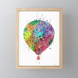 Hot Air Balloon Print Watercolor Vintage Hot Air Balloon Poster Framed Mini Art Print