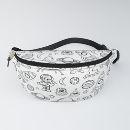 Space Print, Black and White pattern, Alien Illustration, Outer Space, Rocket Ship Fanny Pack