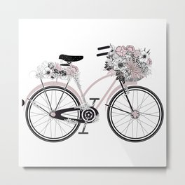 nostalgic bike with lush floral decoration Metal Print