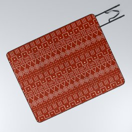 Mudcloth Style 1 in White on Red Picnic Blanket