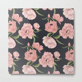 Modern floral peony botanical pattern Metal Print