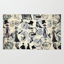 Victorian Bicycles and Fashion Rug