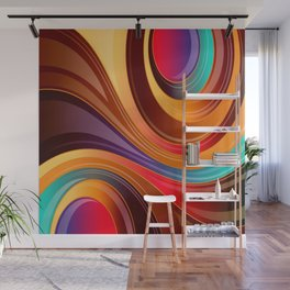 Abstract Colorful Swirls Wall Mural