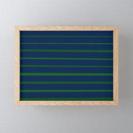 Slate Blue and Emerald Green Stripes Framed Mini Art Print