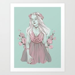 Floral Ghouls - Frankie Art Print