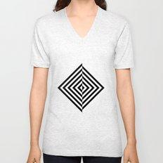 Black and White Concentric Diamonds Unisex V-Neck