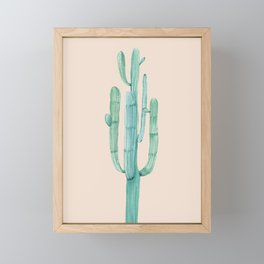 Solo Cactus Mint on Coral Pink Framed Mini Art Print
