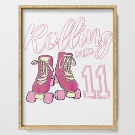 Rolling Into 11 Years Old Girl 11th Birthday Roller Skate product Serving Tray