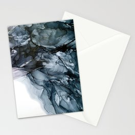 Dark Payne's Grey Flowing Abstract Painting Stationery Cards