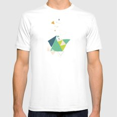 Exploding Triangles//Six White Mens Fitted Tee MEDIUM