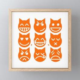 The 9 Lives of the Emoji Cat Framed Mini Art Print