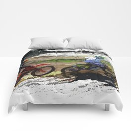 On His Tail - Motocross Sports Art Comforters