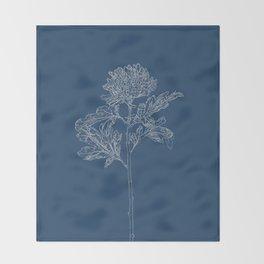 Chrysanthemum Blueprint Throw Blanket