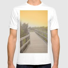 Boardwalk sunrise Mens Fitted Tee White MEDIUM