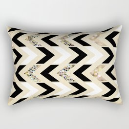 Black, White & Gold Glitter Herringbone Chevron on Nude Cream Rectangular Pillow