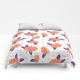 Floral clemson sports college football university varsity team alumni fan gifts purple and orange Comforters