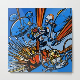 Retro Robot and Flying Saucers Metal Print