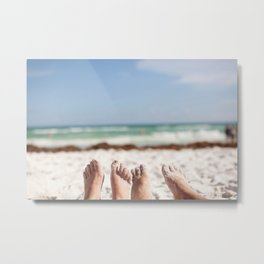 Feet in the Sand Metal Print