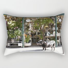 Dog in the Flower District, Paris - travel photography Rectangular Pillow