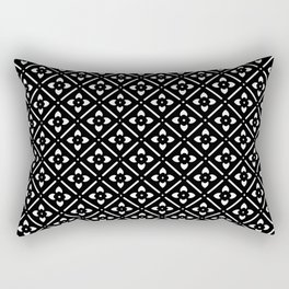 Nordic Edelweiss in Black and White Rectangular Pillow