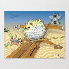Monkey vs. Monkey Blowfish Attack Canvas Print