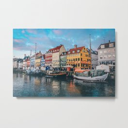 TWO GRAY AND BLACK BOATS NEAR DOCK Metal Print