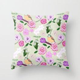 Joyful spring pink toned floral pattern with bird Throw Pillow
