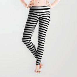 Narrow Horizontal Stripe: Black and White Leggings