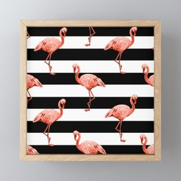 Simply Flamingo Deep Coral on Midnight Black Stripes Framed Mini Art Print