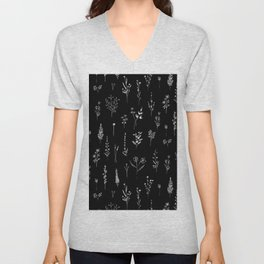 Black wildflowers Unisex V-Neck