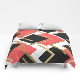 Chic Coral Pink Black and Gold Square Geometric Comforters