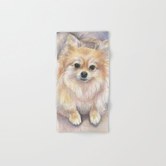 Pomeranian Watercolor Pom Puppy Dog Painting Hand & Bath Towel