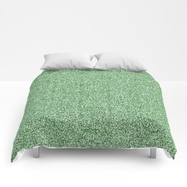 Melange - White and Dark Green Comforters