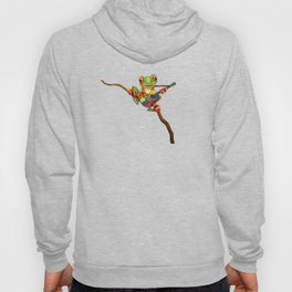 Tree Frog Playing Acoustic Guitar with Flag of Ecuador Hoody