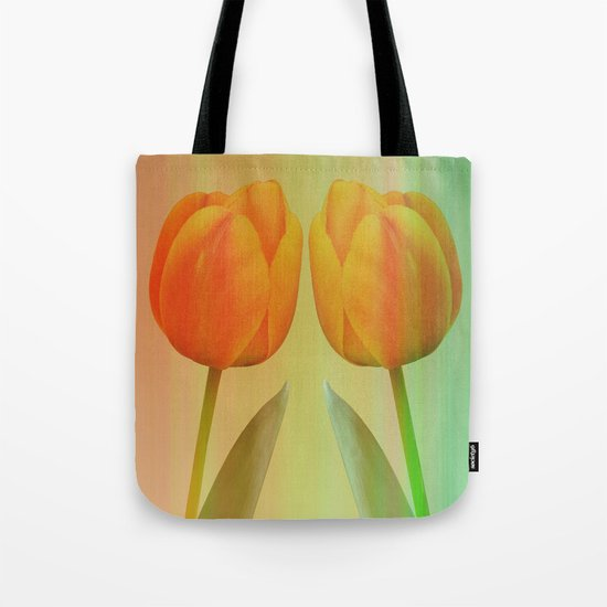 Head-to-Head, mixed media art with elegant Tulips Tote Bag