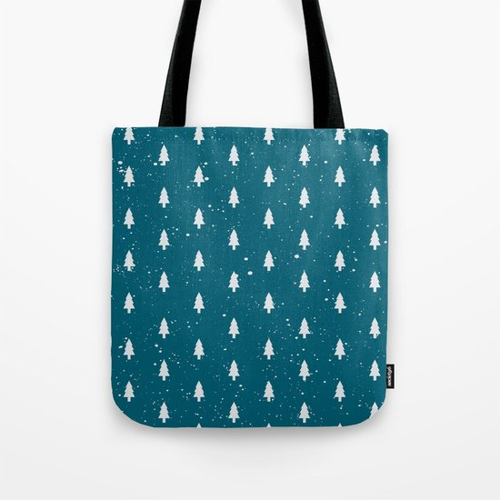 Christmas Trees Pattern Teal Tote Bag