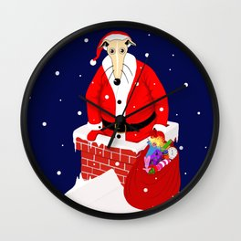 Christmas Whippet with snow Wall Clock