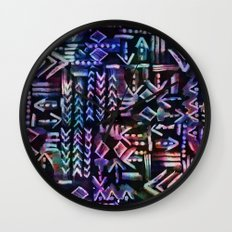 Tapa Tribal Black Wall Clock